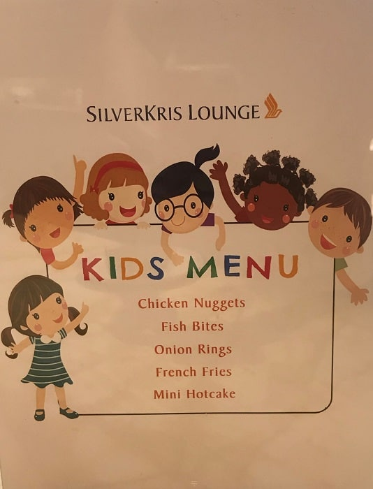 Singapore SilverKris Business Class Lounge Kids Menu