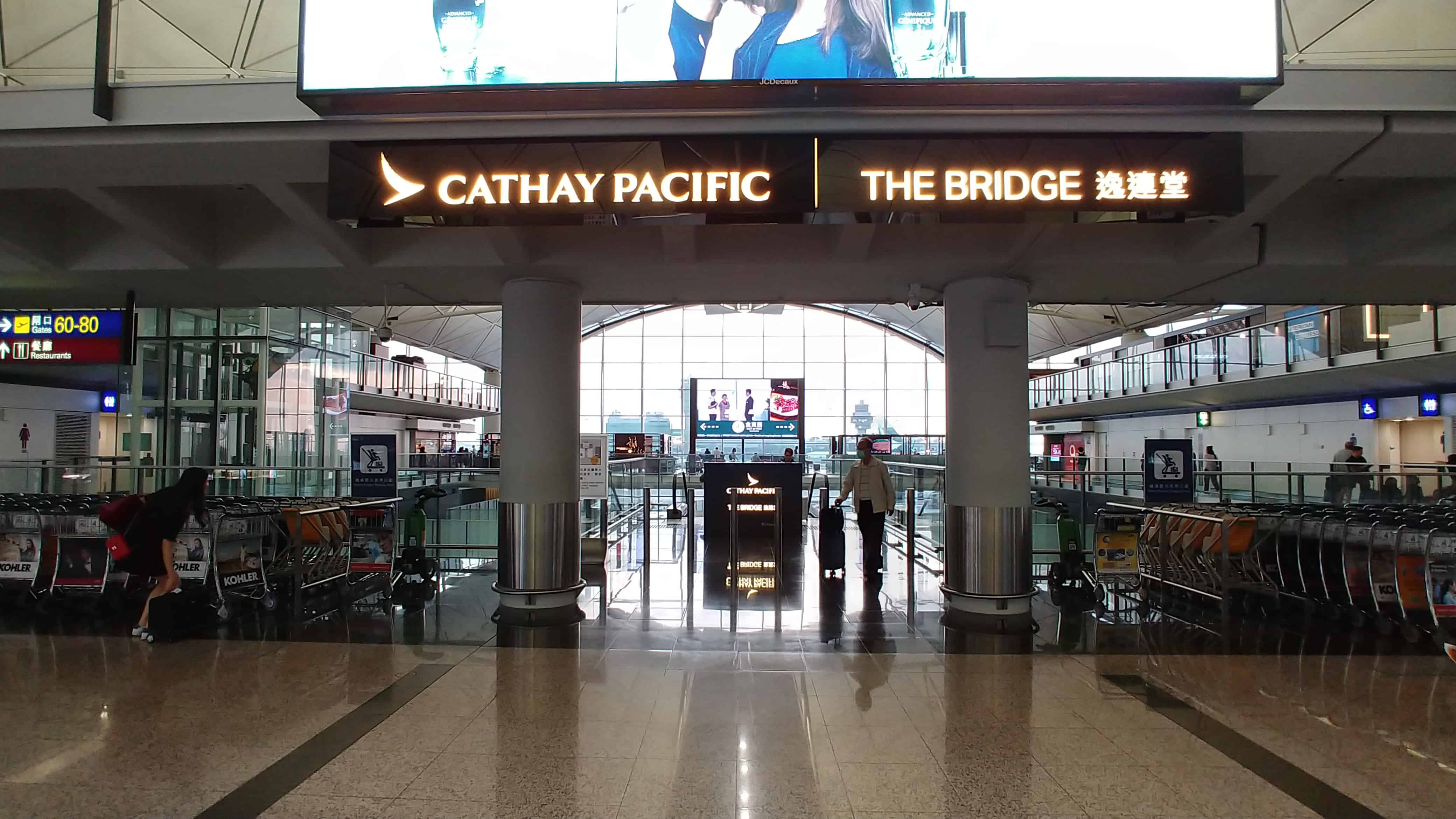 "Cathay Pacific ""The Bridge"" Business Class Lounge Hong Kong Sign"