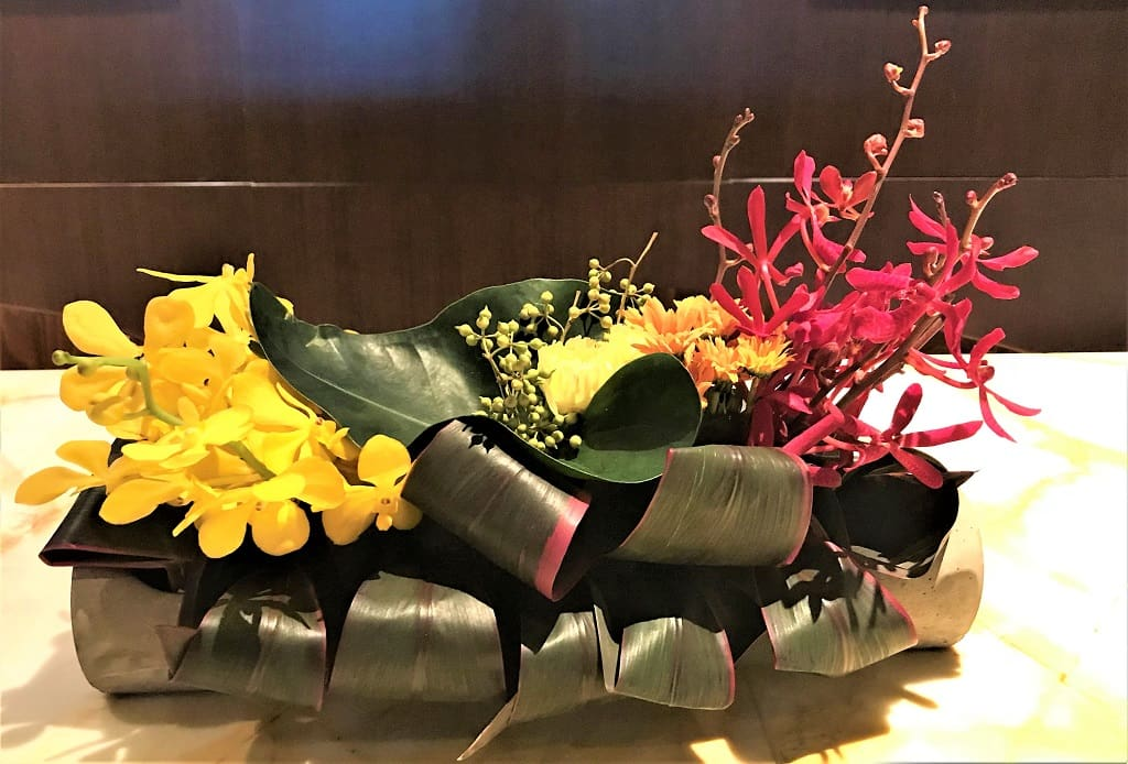 Singapore Airlines SilverKris Lounge Flowers