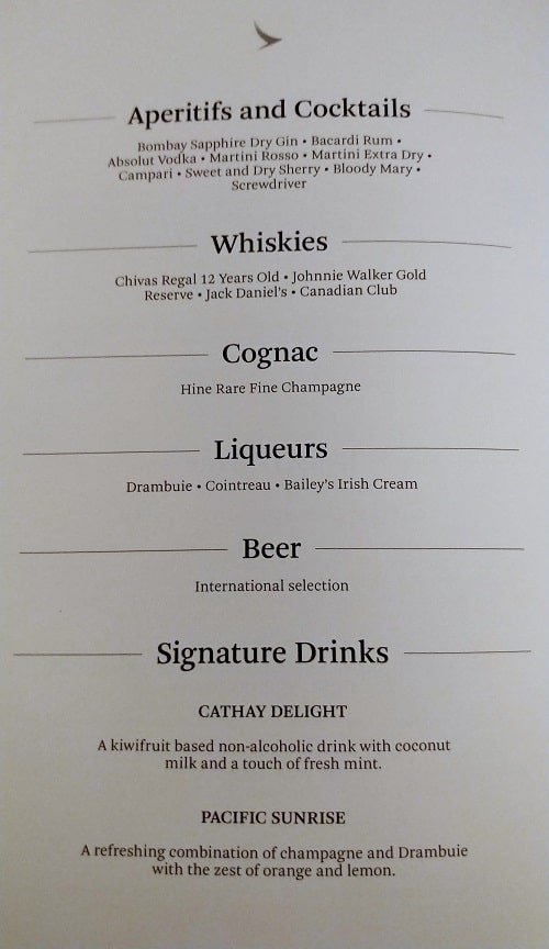 Cathay Pacific Business Class Beverage Menu