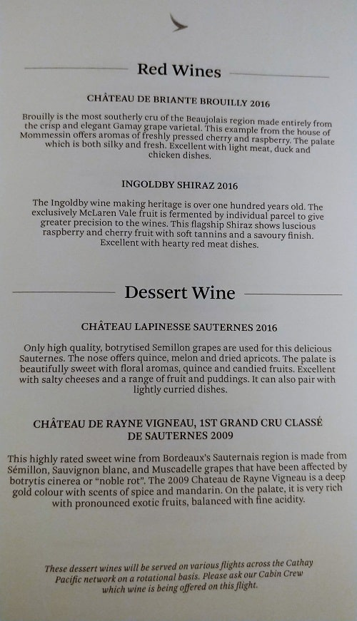 Cathay Pacific Business Class Wine Menu