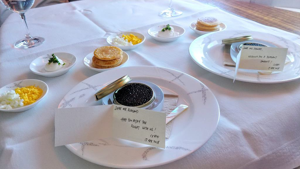 Cathay Pacific First Class Champagne and Caviar