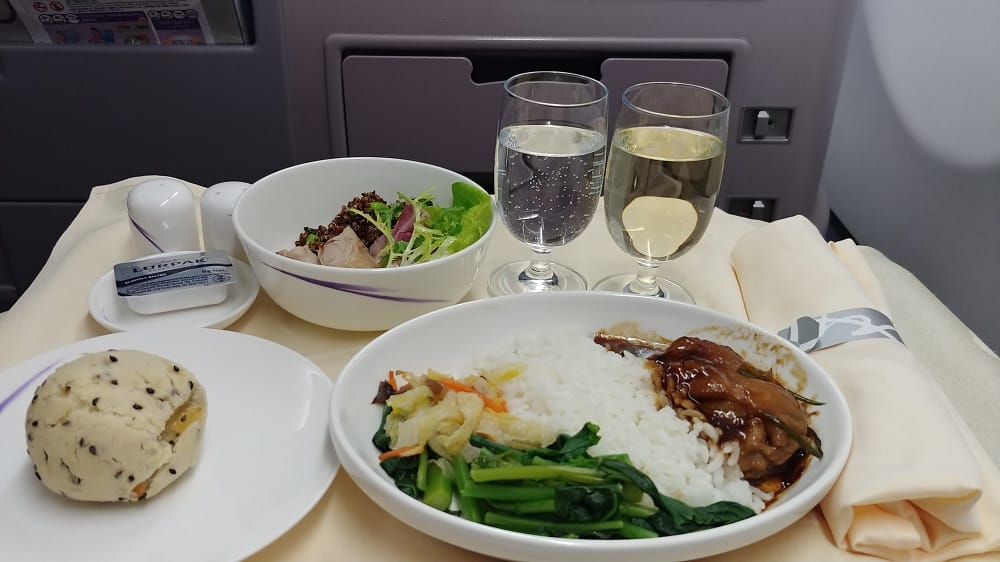China Airlines A330 Business Class Lunch