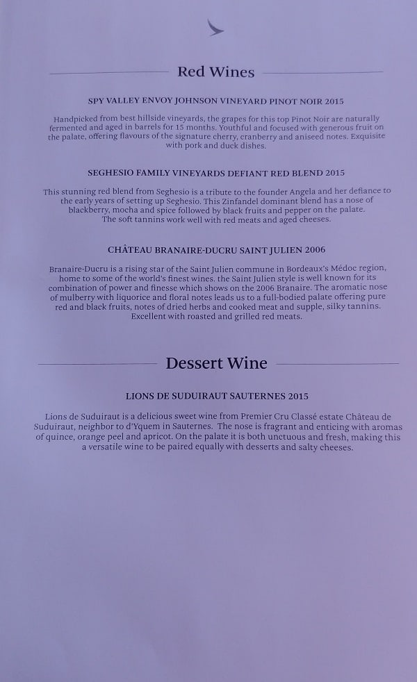 Cathay Pacific First Class Wine List