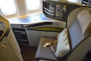 The side business class seat on EVA Airways Boeing 777 reverse herringbone configuration