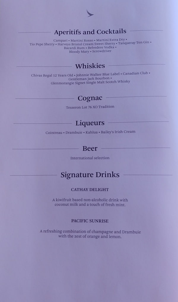 Cathay Pacific First Class Drink Menu