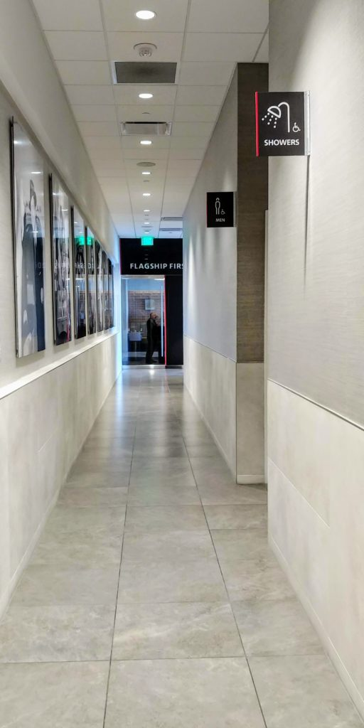 Flagship Lounge Los Angeles Hallway to Showers and Flagship First Dining