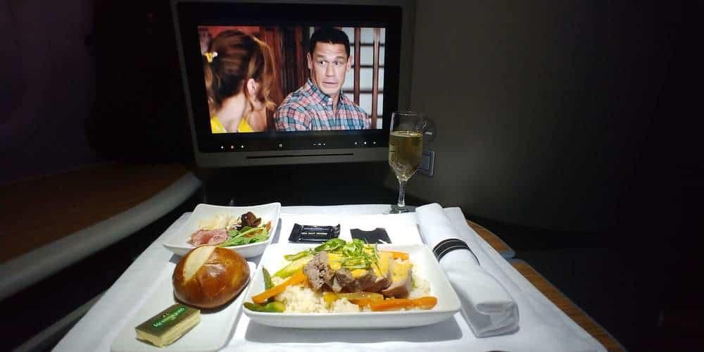 American transcon first class dinner