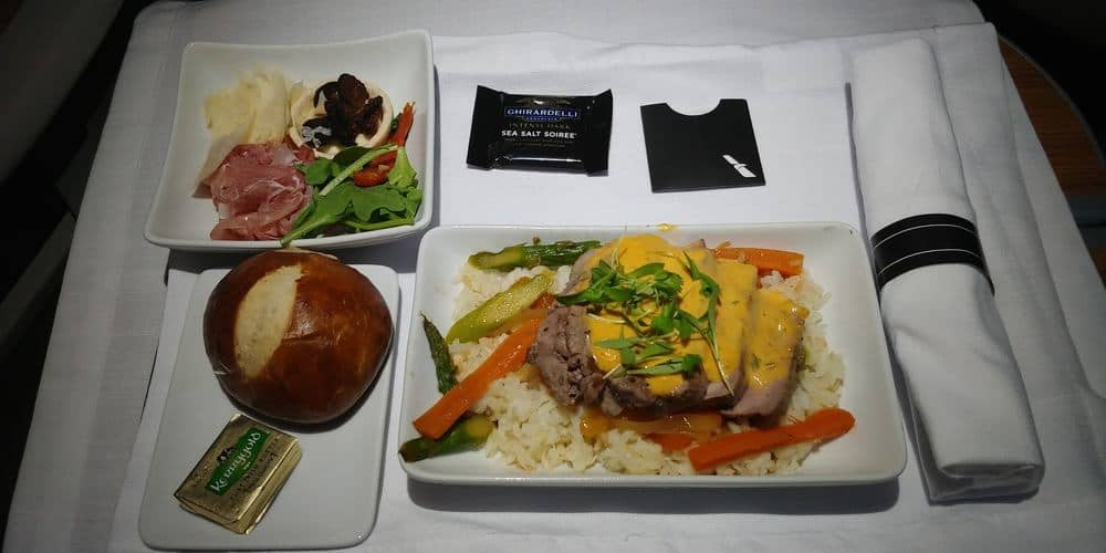 American transcontinental first class food
