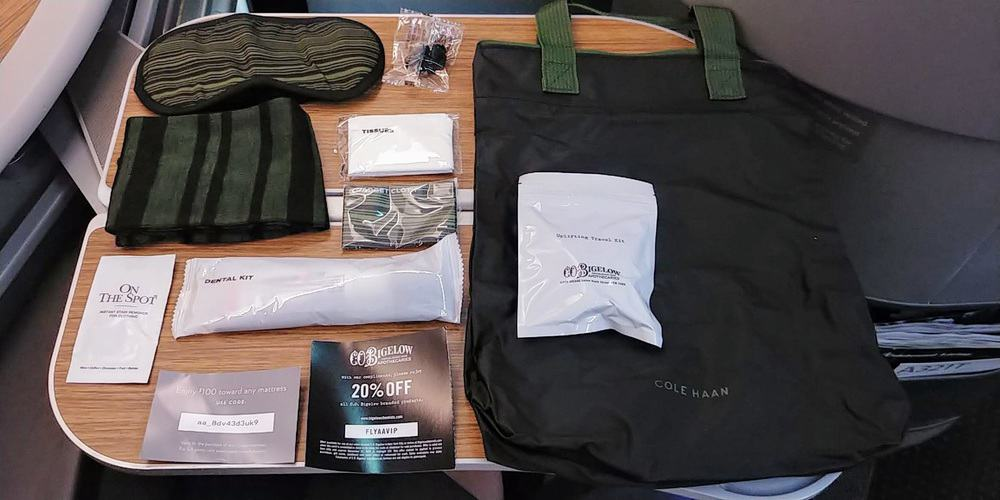 AA transcontinental first class amenity kit Cole Haan CO Bigelow