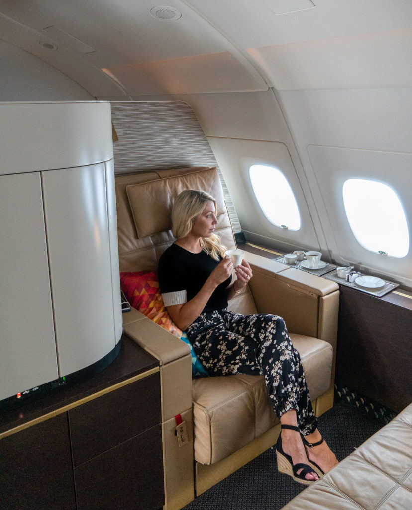 Etihad First Class Apartment girl with coffee