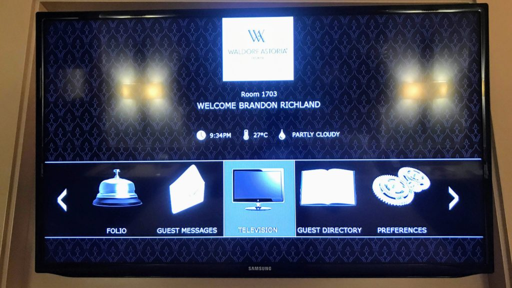 Welcome Message Waldorf Astoria Panama