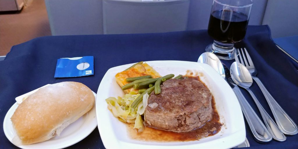 Grilled Beef Filet Copa Business Class Los Angeles LAX