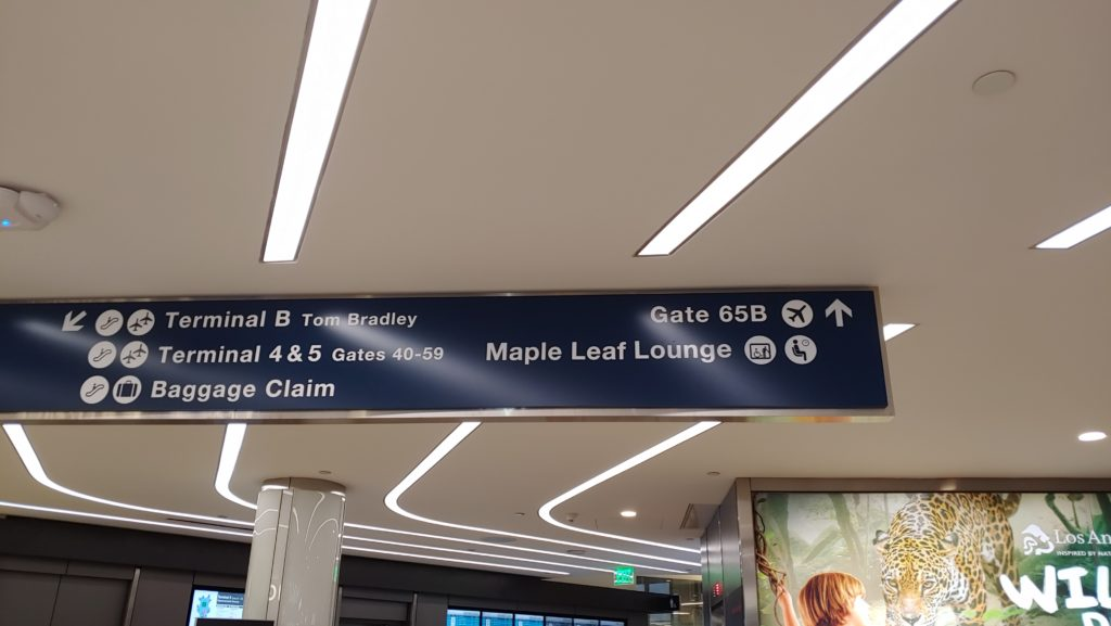 Sign to Air Canada Maple Leaf Lounge LAX