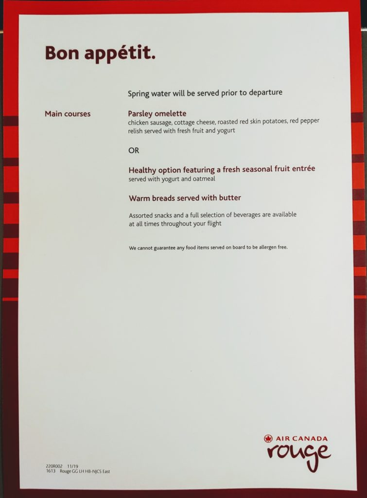 Menu Montreal to Martinique Rouge Air Canada