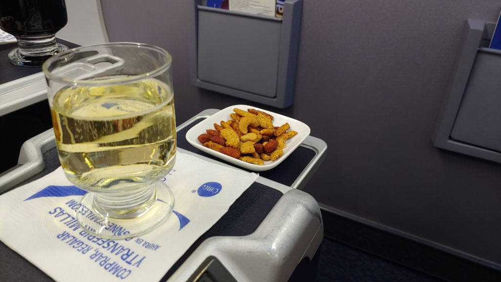 Business Class Champagne and Nuts